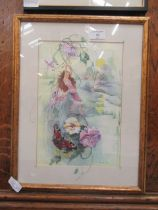 A framed and glazed watercolour of a fairy dangling from flowers signed Glenda Rae