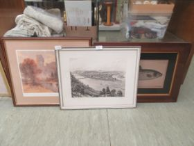 Three framed and glazed prints to include Warwick castle, fish,