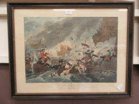 A framed and glazed coloured etching of the battle at La Hogue