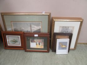 A selection of framed and glazed prints to include ladies of fashion, buildings,