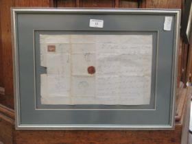 A framed and glazed mid-19th century letter with penny red stamp