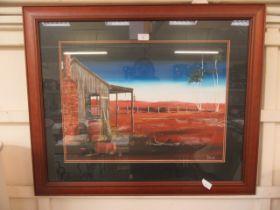 A framed and glazed oil painting of Australian scene signed L.