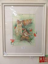 A framed and glazed watercolour of sleeping kittens signed Glenda Rae
