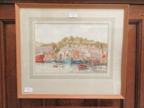 A framed and glazed watercolour of harbour scene signed Cook '78