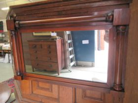 A 19th century rosewood over mantle mirror
