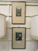 A pair of framed coloured etchings after Leon E Verdier
