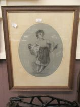 An oak framed and glazed charcoal and chalk portrait of young child carrying basket signed Trissie