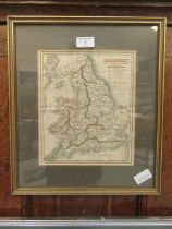 A framed and glazed map of England and Wales