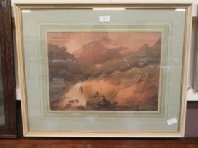 """A framed and glazed watercolour titled """"the summit of Cader Idris"""" after Francis Nicholson R.W."""