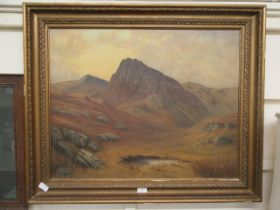 A framed oil on canvas of mountain scene signed G.