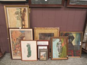 A large selection of pictures to include watercolours, oils, prints,