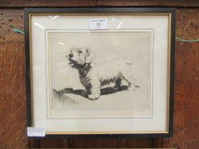 A framed and glazed limited edition print of a dog signed Cecil Aldin