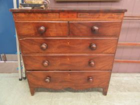 A late 18th century mahogany chest of two short over three long drawers