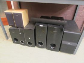 A selection of speakers to include Bose Acoustimass module, two Acoustic solution speakers,