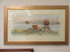 A framed and glazed watercolour of highland cattle signed Glenda Rae