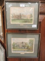 Two framed and glazed coloured prints of Charlecote hall and Guys Cliffe Warwick