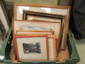 A tray containing a quantity of framed and glazed prints, watercolours etc.