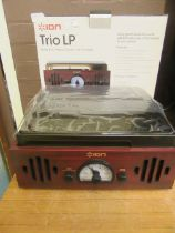 A boxed Ion Trio LP 3-in-1 music centre with turntable