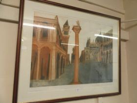 A framed and glazed limited edition print 'San Marco' signed in pencil Alison and Neville