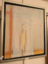 A mid-20th century oil on canvas of a shadow of man CONDITION REPORT: Size as