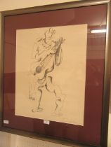 A framed and glazed abstract of a guitar player signed in pencil