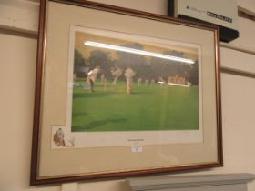 A framed and glazed limited edition print of cricket titled 'The Demon Bowler' by John Haskins