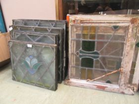 A large quantity of leaded stained glass panels