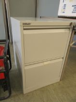A Bisley two drawer metal filing cabinet with key