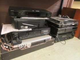 A selection of hi-fi equipment to include Technics turntable, compact disc player, Sony tuner unit,