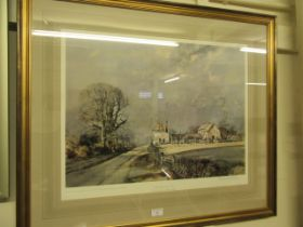 A framed and glazed print 'The Road to the Farm' signed bottom right Roland Hilder