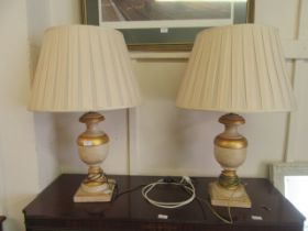 Two modern parcel gilt table lamps