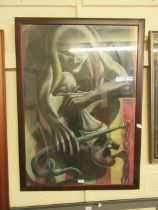 A large framed and glazed pastel of scary jester signed Nic Morris