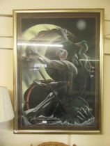 A framed and glazed pastel of jester on sails signed N W Morris