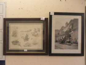 A framed and glazed print of fisherman together with a framed and glazed photograph of steam