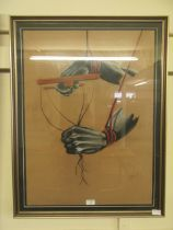 A framed and glazed pastel drawing of puppeteer's hands signed Nic Morris