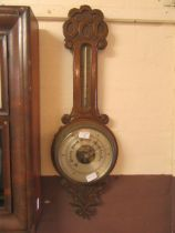 An early 20th century carved oak banjo barometer (A/F)