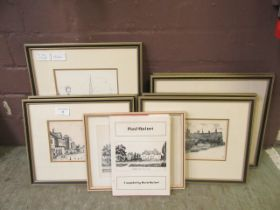 Eight Paul Quinet framed and glazed etchings along with a book relating to Paul Quinet