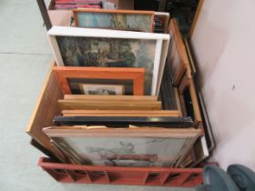 A tray of framed and glazed and unframed prints etc.