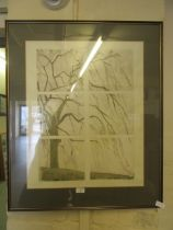 A framed and glazed limited edition 4 of 20 titled 'Winter Willow' by M E Morris 1985