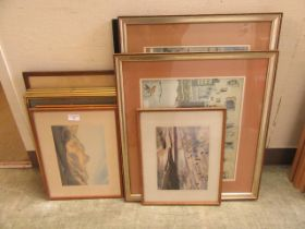 A selection of framed and glazed watercolours, prints,