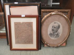 A selection of framed and unframed prints, maps, photographs etc.
