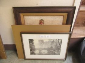 An oak framed and glazed needlework of young lady together with a photo of bridge over river,