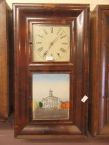 An early 20th century American walnut drop-dial wall clock with a panel depicting the Merchant's