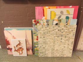 A quantity of stretched canvasses depicting Paris, hares etc.