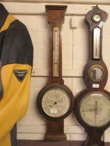 An early 20th century burr walnut banjo barometer (A/F)