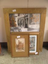 A selection of framed and glazed prints to include people, subway,