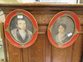 A pair of framed and glazed 18th century style prints of lady and gentleman