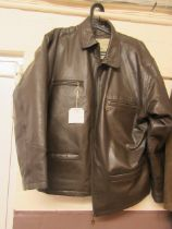 A brown leather gents coat