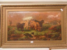 A gilt framed oleograph of highland cattle