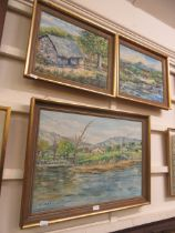 Three framed and glazed oils on board of village scenes signed M.